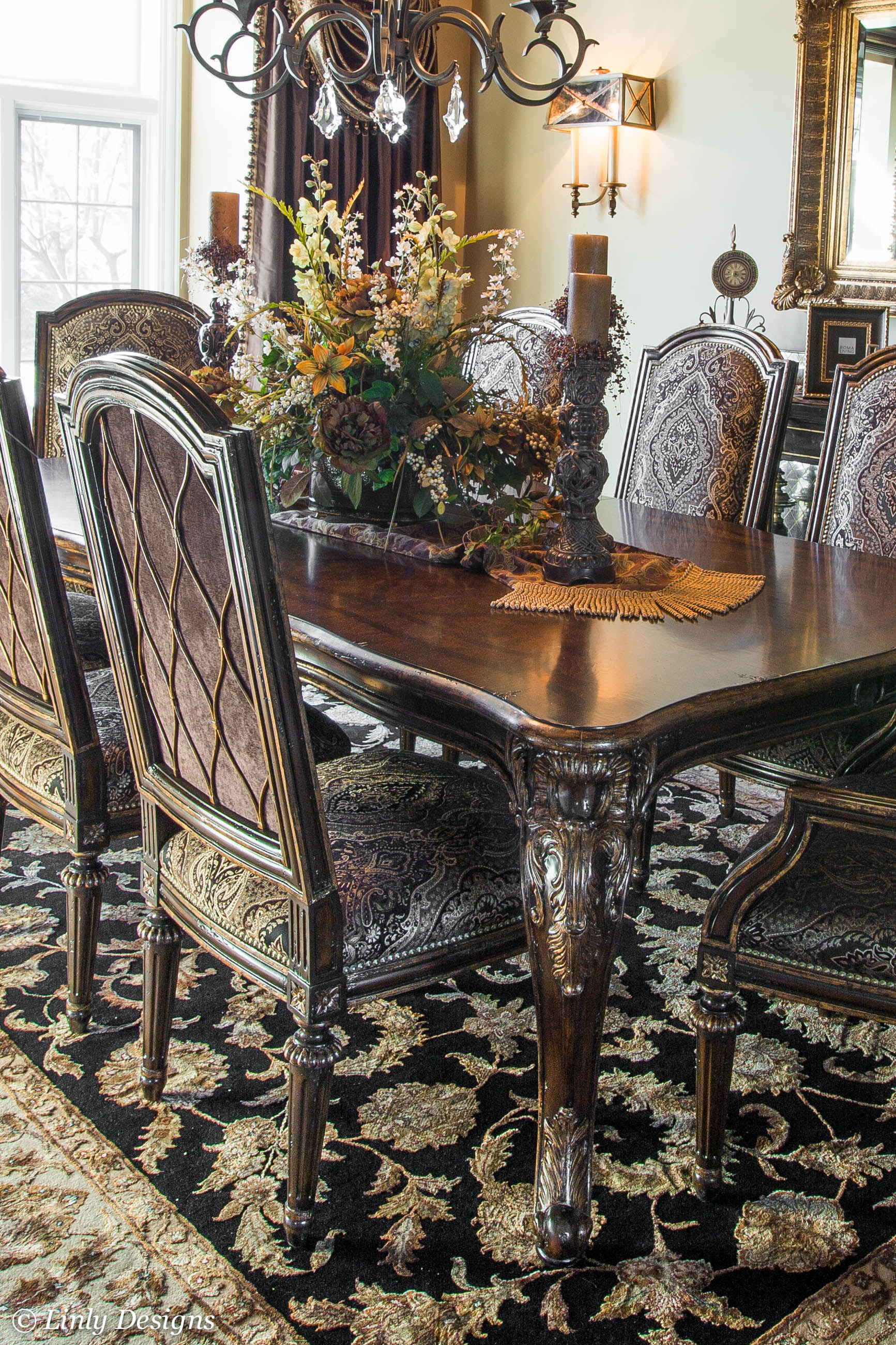 South barrington dining room project Formal dining table centerpiece ideas