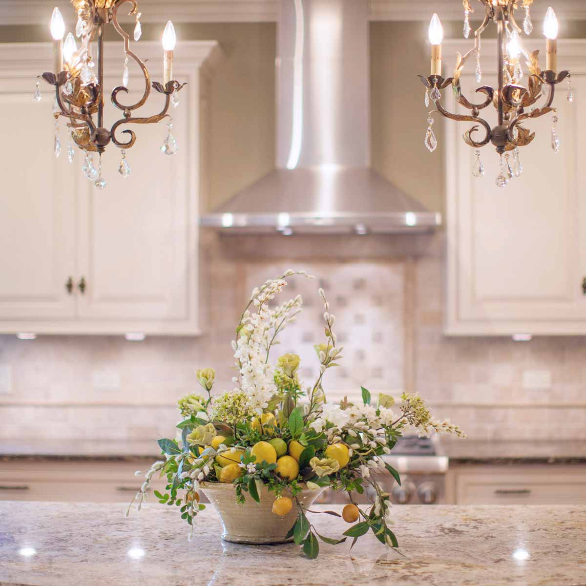 Silk floral seasonal decor linly designs for Kitchen decoration with flowers