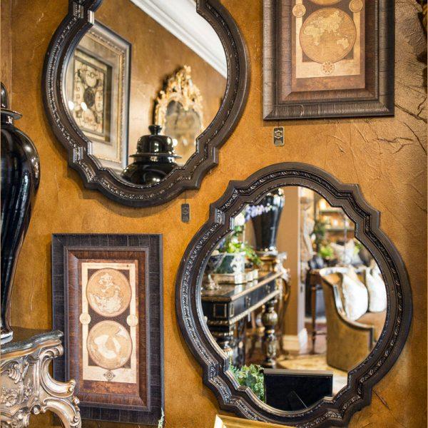 Black Pair Carved Mirrors 2