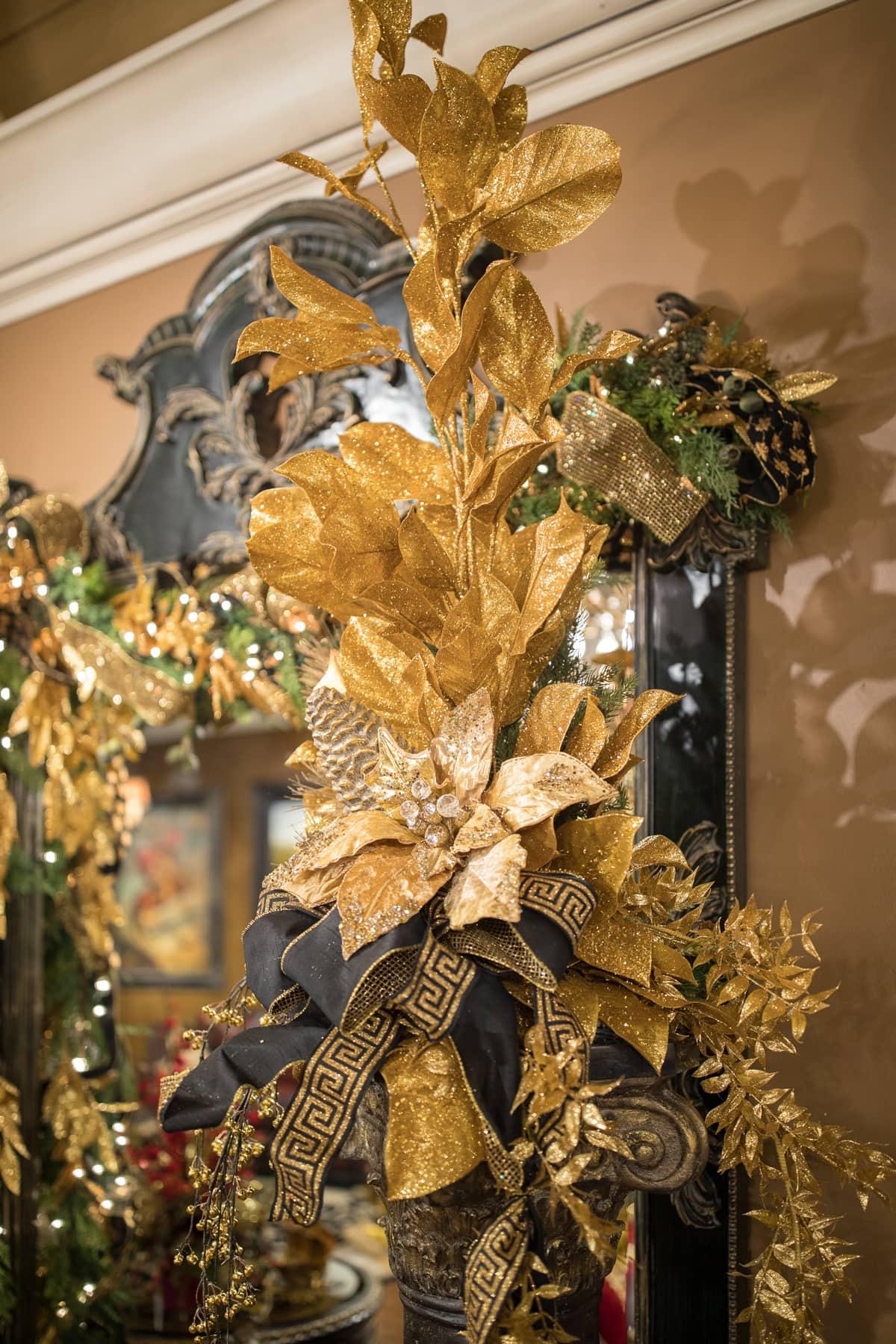 Gold Christmas floral arrangements