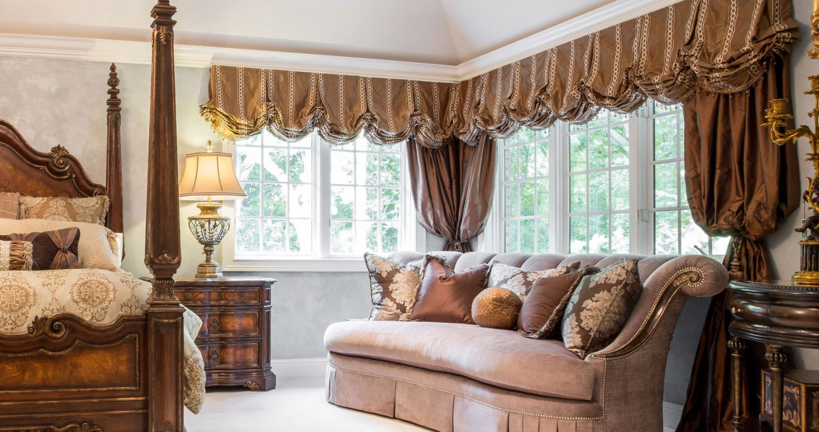 custom window treatments in master bedroom