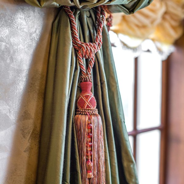 green custom window treatments with tassel