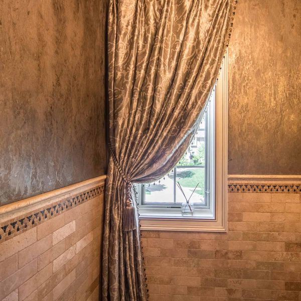 custom window treatments in powder room