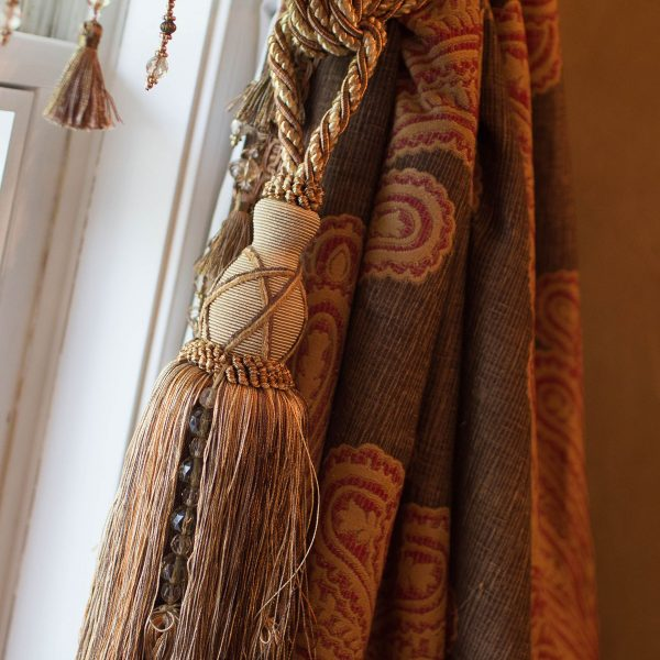 custom window treatments with tassel detail