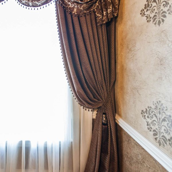 custom window treatments in dining room