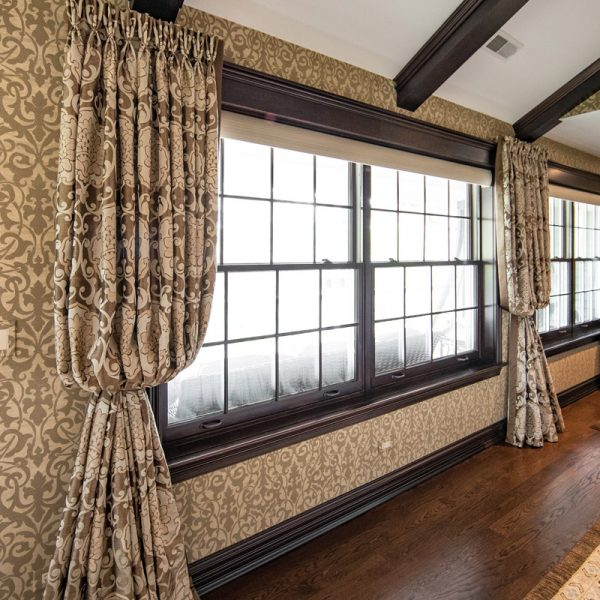 custom window treatments in hallway