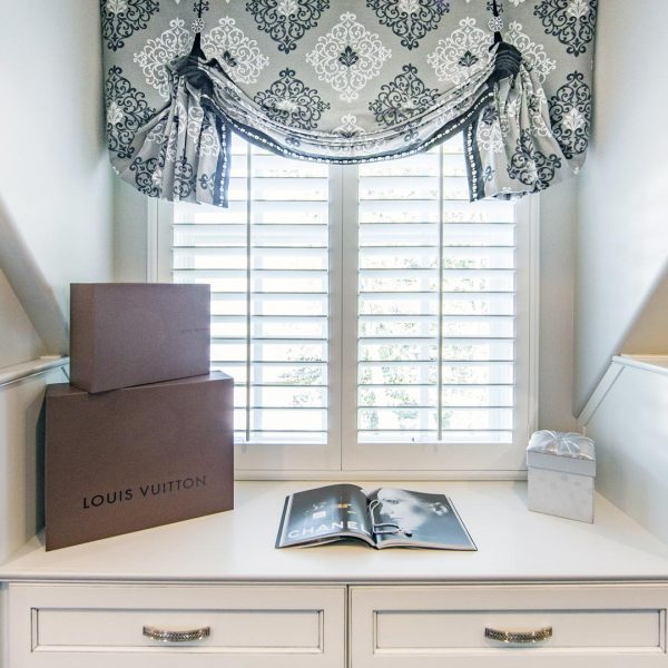 custom window treatments in closet