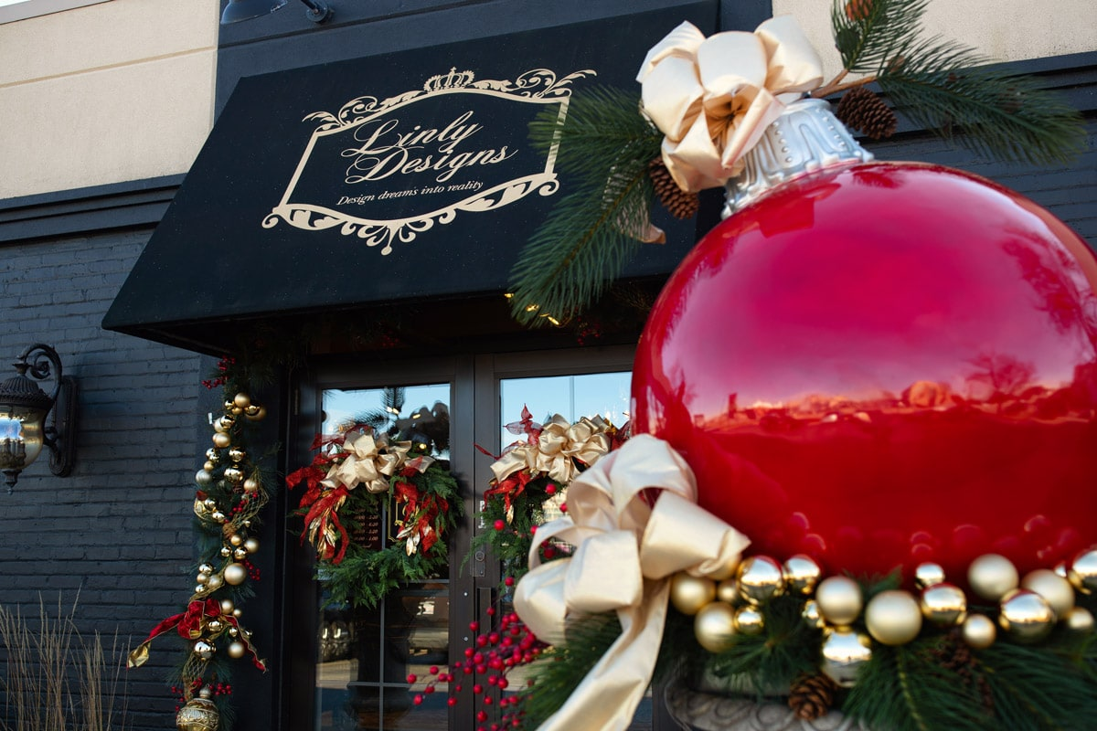 Linly Designs Luxury Chicago Interior Designer Christmas Showroom of Holiday decor and Gifts