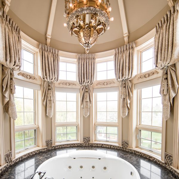 custom window treatments in bathroom