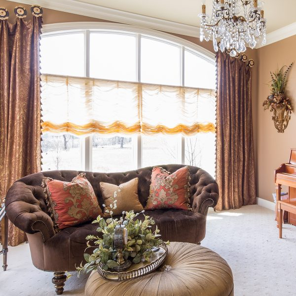 custom window treatments in living room