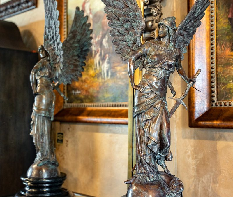Bronze and Marble Warrior Statue