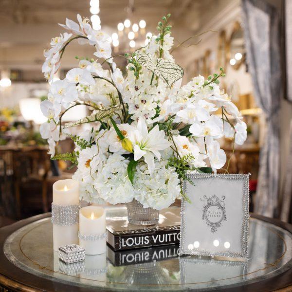 White handcrafted silk floral arrangement