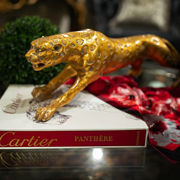 Gold cheetah statue and luxury home decor
