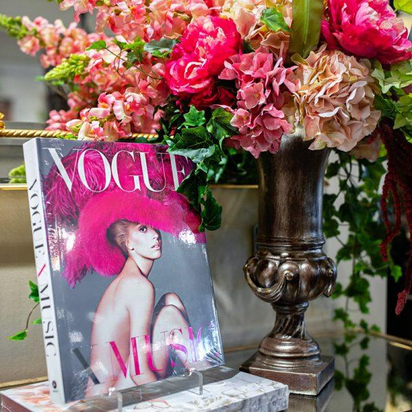 Vogue Designer Book and handcrafted pink flower arrangement