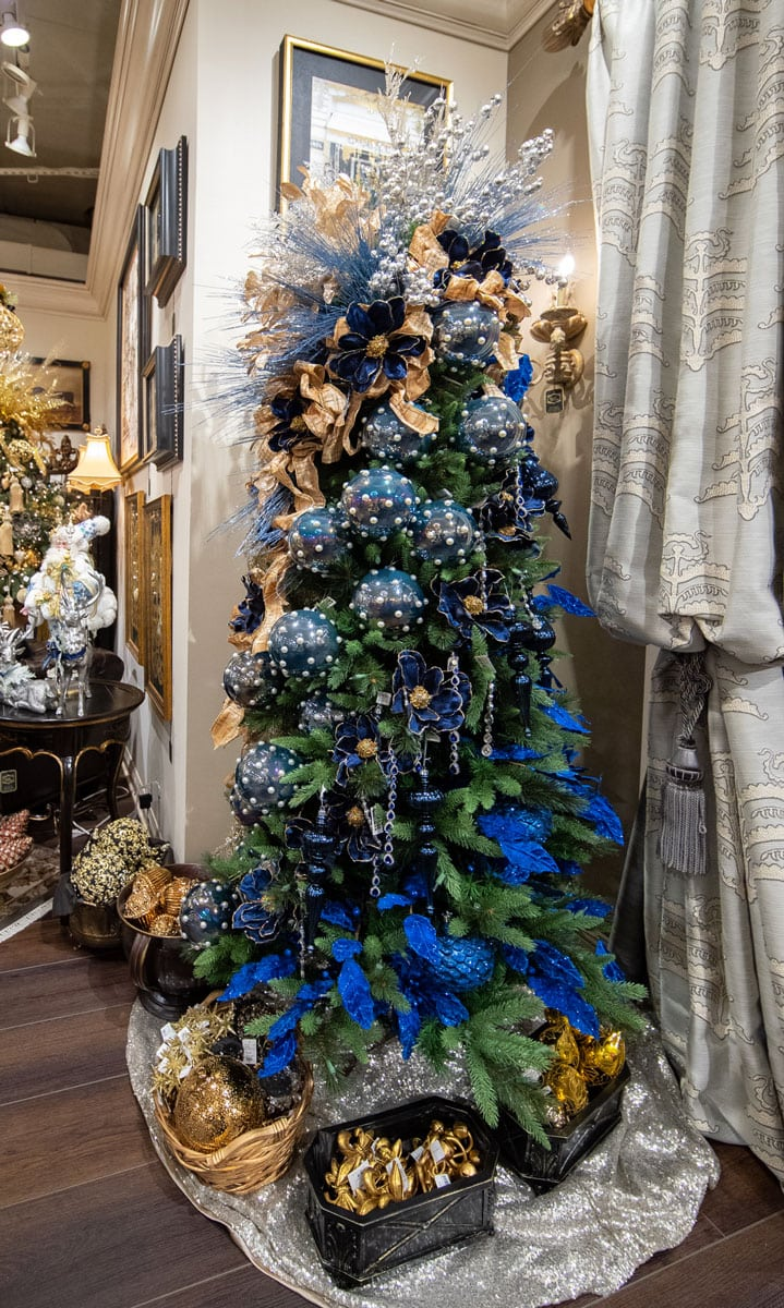 blue decorated christmas tree