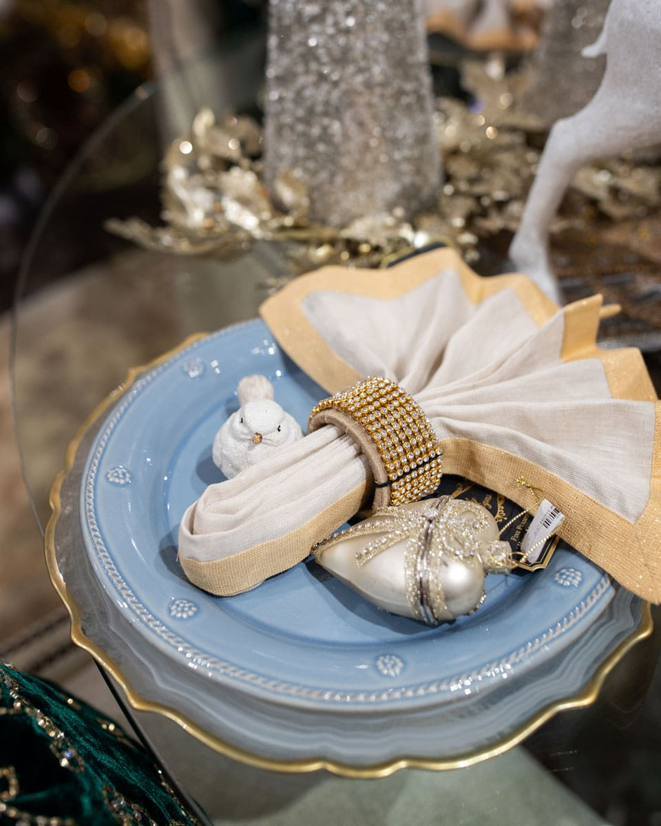 Blue and White Holiday Table Setting