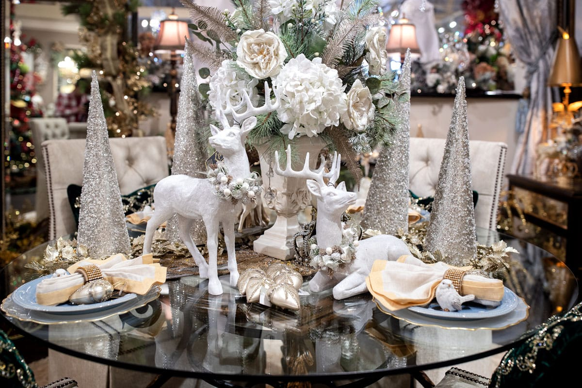 White Christmas Reindeer Table Setting