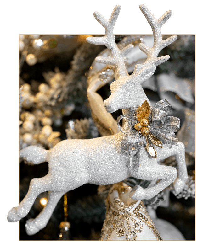 Silver Glitter Deer Ornament