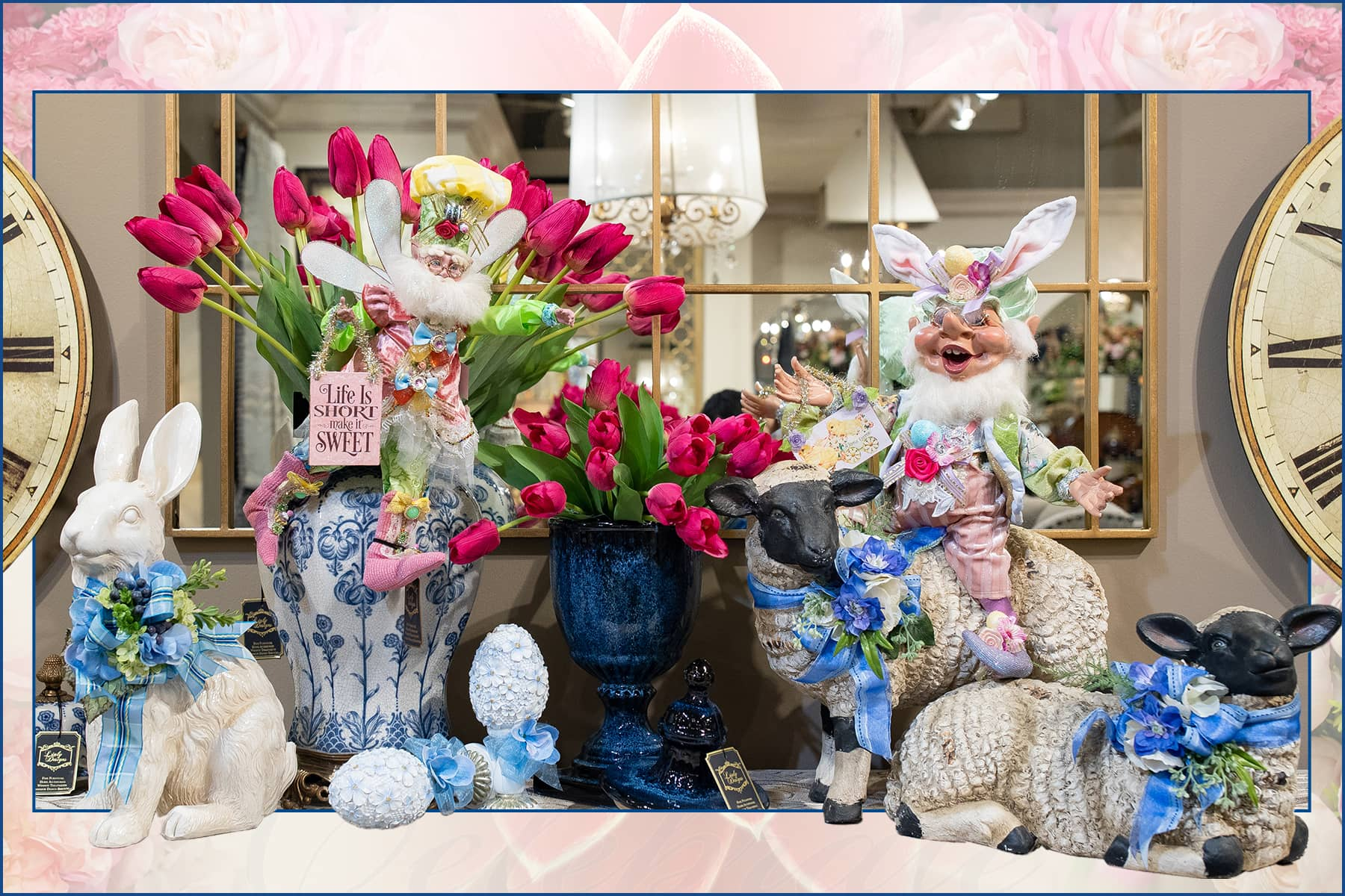 Mark Roberts Easter Fairies and Elves with Spring Bunnies and Flower Stem Decor for Linly Designs 2020 Spring Open House