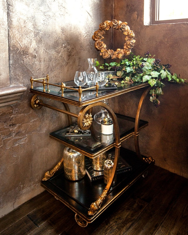 Marge Carson Bar Cart with custom floral arrangement and luxury home decor