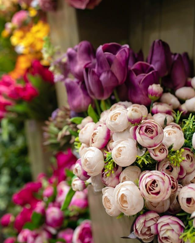 Hand Picked Spring Silk Flower Stems for Custom Arrangements at Linly Designs Interior Design Showroom