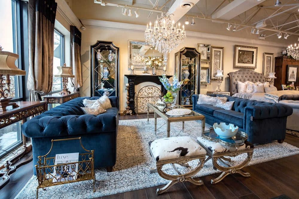 Luxury-Blue-Tufted-Fabric-Sofas-Marge-Carson-Display-Cabinet-Living-Room-Setting
