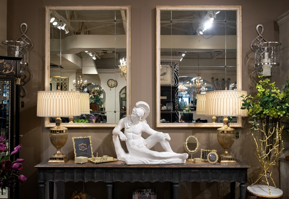 Luxury-Console-Setting-with-white-stone-sculpture-and-matching-rectangle-mirrors