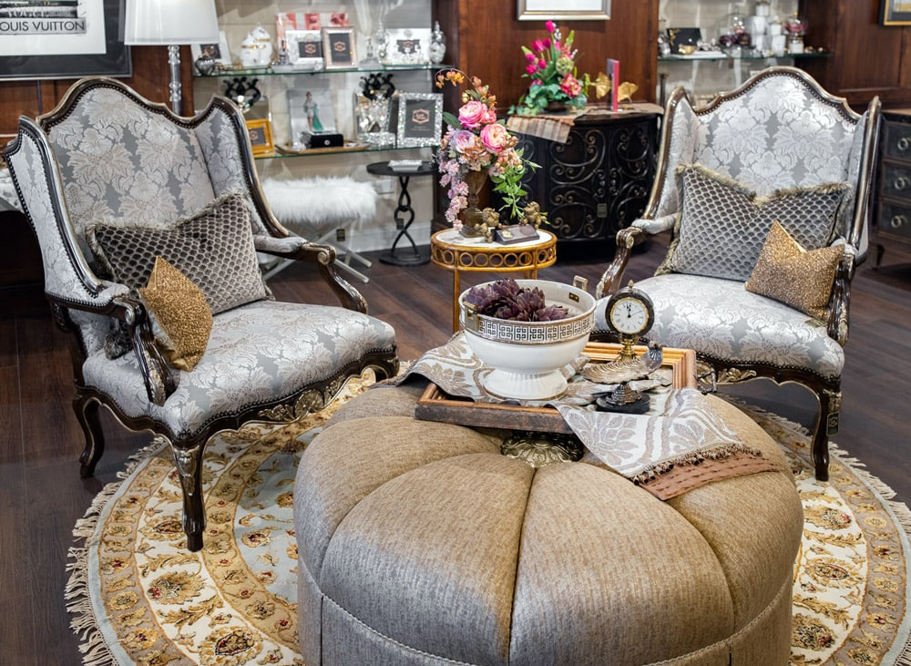 Luxury-Marge-Carson-Side-Charies-and-Ottoman-on-a-round-rug-setting
