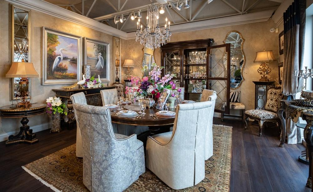 Luxury-Marge-Carson-Spring-Dining-Room-table-Designer-Vignette