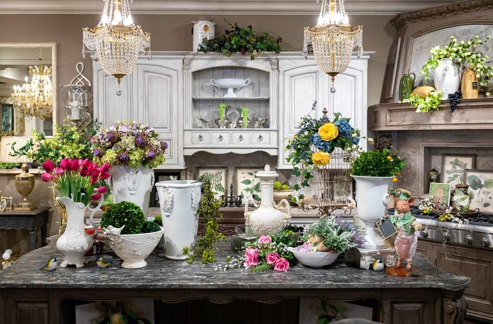 Luxury-Spring-Flowers-Kitchen-Island-Setting