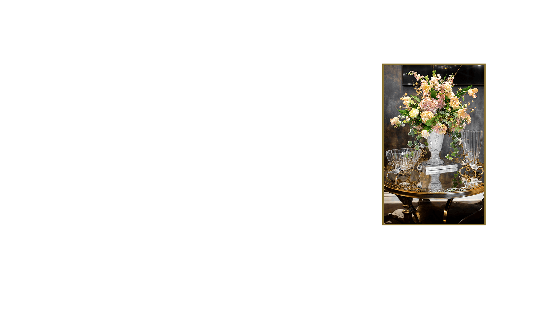 White Urn Floral Arrangement on a Gold Mirrored Foyer Table Luxury Design