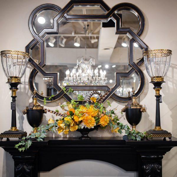 Black Geometric Wall mirror and Silk Flower Arrangement Luxury Seasonal Home Decor and Designer Decorations