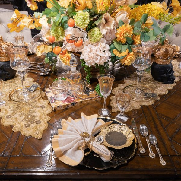 Fall Decorated Custom Dining Table Setting Luxury Seasonal Home Decor and Designer Decorations