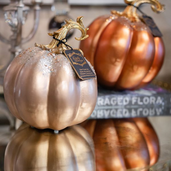 Gold and Cream Glittered Fall Pumpkins Luxury Seasonal Home Decor and Designer Decorations