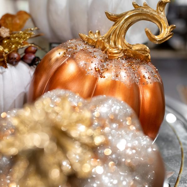 Luxury Fall Gold and Orange Pumpkins Home Decorating Ideas
