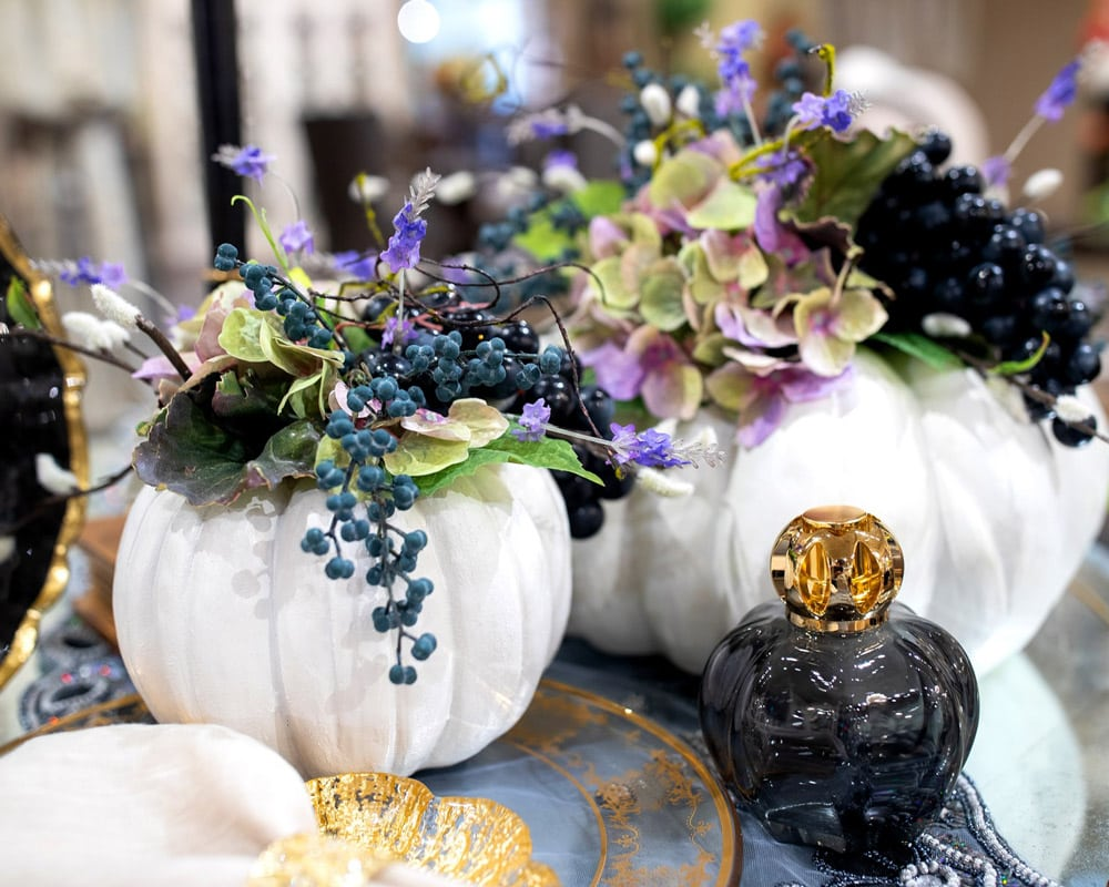 Custom Embellished White Decorative Pumpkin Interior Design Setting Luxury Fall Decor and Decorating Ideas