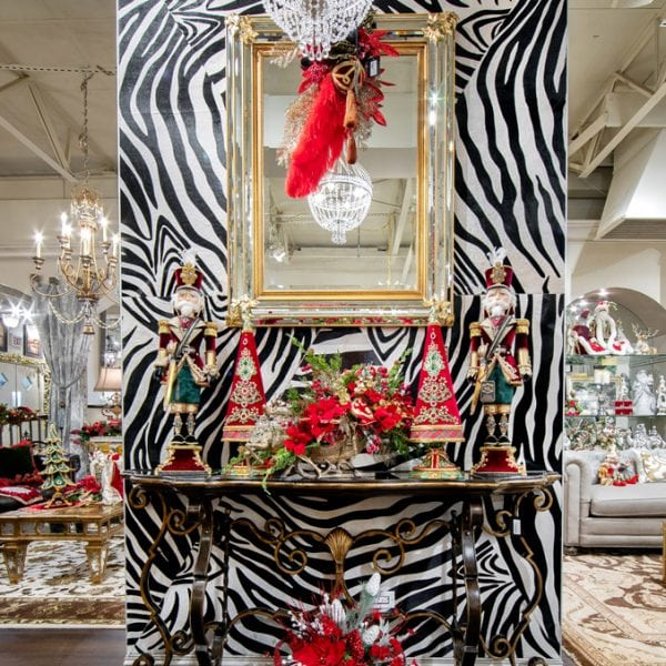 Black and White Zebra Wall With Luxury Christmas Home Decorations in Chicago