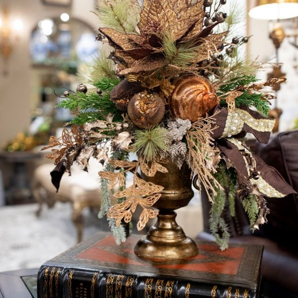 Bronze-Silk-Glittered-Christmas-Flower-Arrangement-in-Bronze-Urn