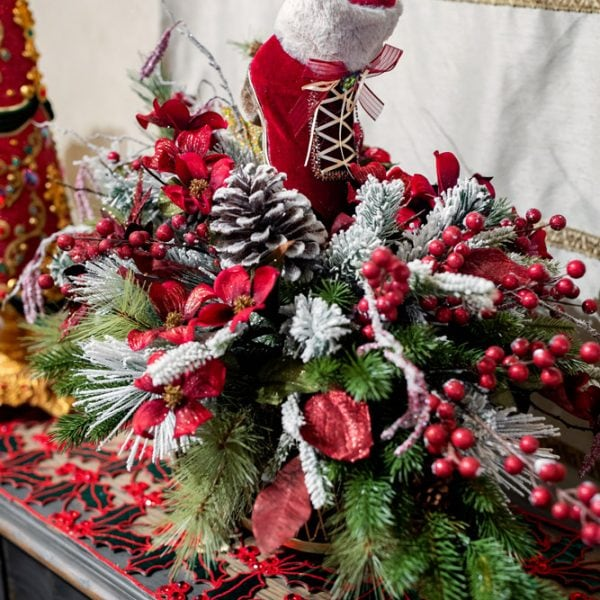 Custom Christmas Silk Flower Arrangement with Santas Boot