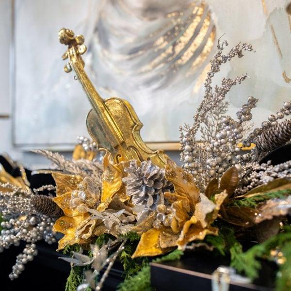 Custom Gold Christmas Musical Violin Silk Flower Arrangement