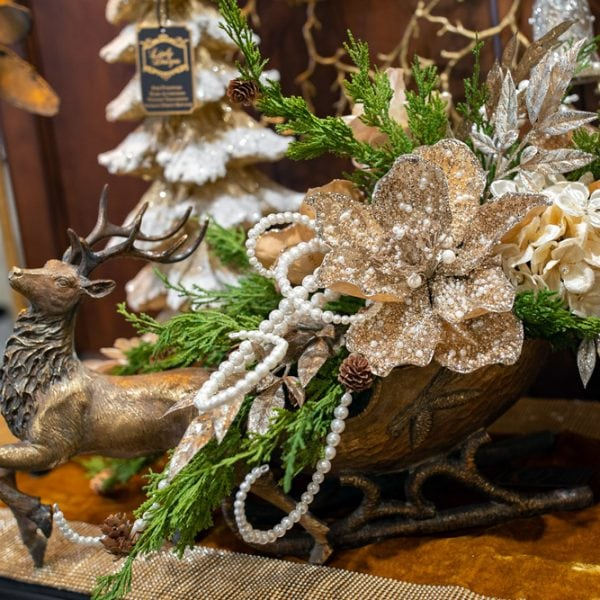 Custom Gold Christmas Silk Flower Arrangement in a Reindeer Sleigh