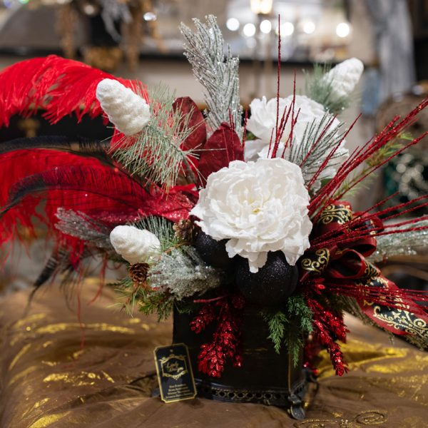 Custom-Red-and-White-Silk-Flower-Arrangement-in-a-Black-Planter