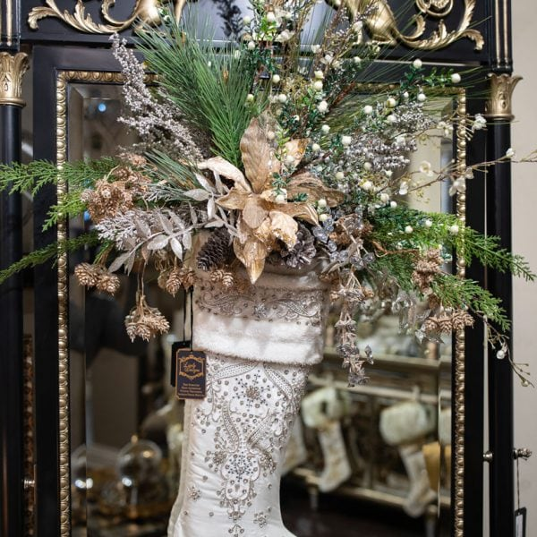Custom-Silk-Flower-Arrangement-in-a-Luxury-White-Christmas-Stocking