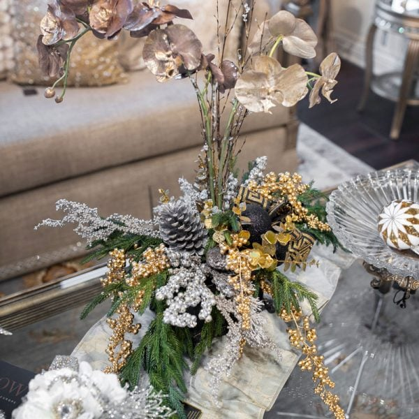 Custom-hand-crafted-Christmas-Silk-Flower-Arrangement-on-a-marge-carson-cocktail-table
