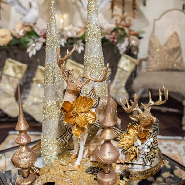 Gold and Black Christmas Trees and Hand Embellished Holiday Reindeer Home Decorations