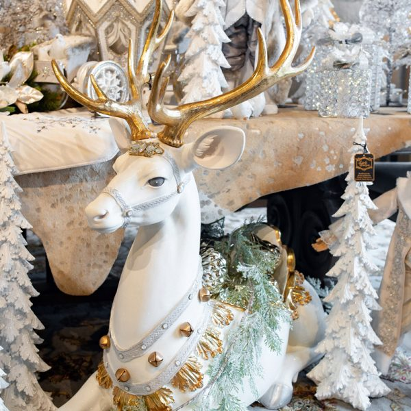 Large White and Gold Luxury Christmas Reindeer