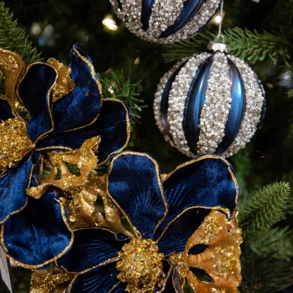 Luxury Blue and Silver Glass Ornaments and Blue and Gold Silk Flower Stems Christmas Tree Decorating