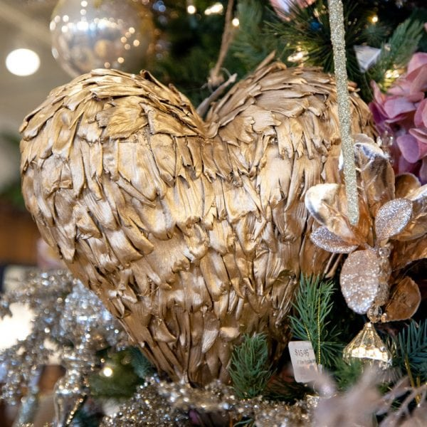 Luxury Gold Heart Feathered Ornament Beautiful Christmas Tree Decorating Ideas