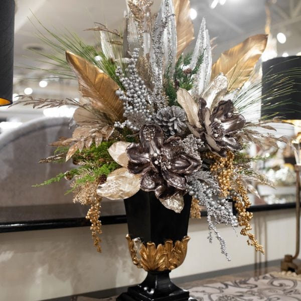 Luxury-One-of-a-Kind-Glittered-Silk-Floral-Arrangement-in-a-Black-and-Gold-Urn