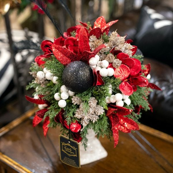 Red-and-Green-Classic-Flower-Arrangement-in-White-Vase